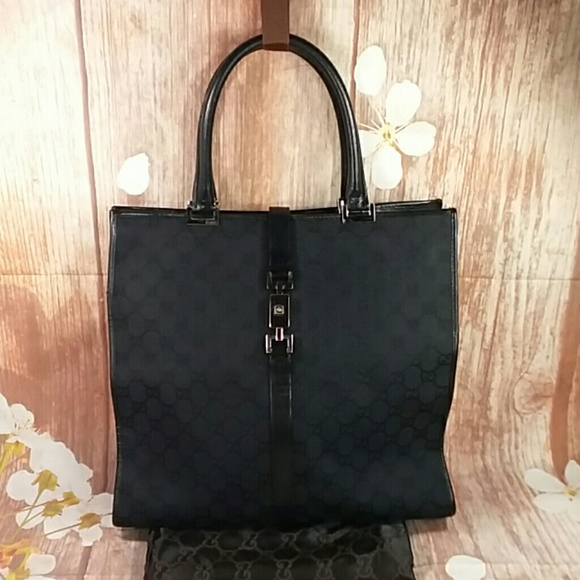 19f491243 Gucci Bags | Authentic Gg Monogram Black Canvas Satchel | Poshmark